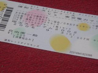 チケット半券。駒場開催なのに埼スタの文字が。